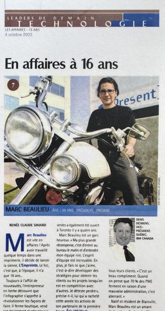 Marc Beaulieu se lance en affaires à 16 ans
