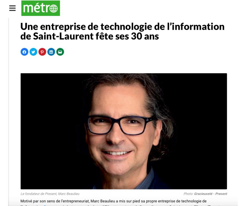 Marc Beaulieu et Present dans le Journal Metro